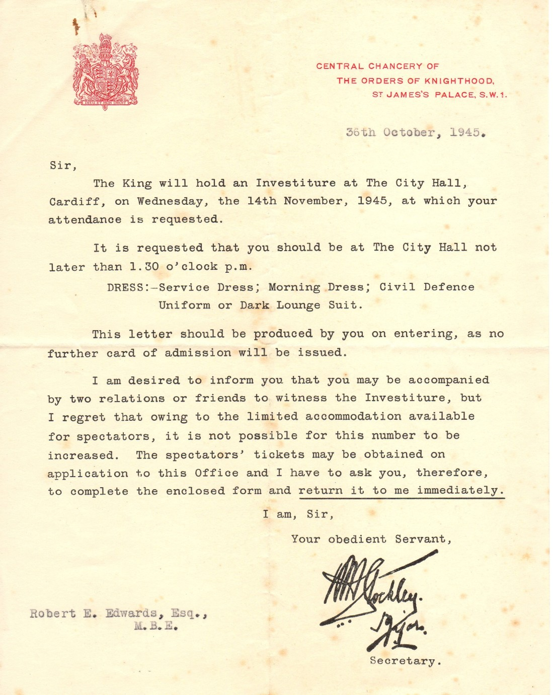 Taid MBE Investiture letter001